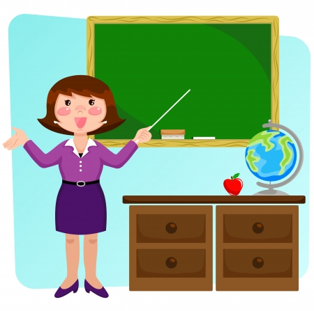 gesturing: Teacher standing in a classrom and pointing at the blackboard
