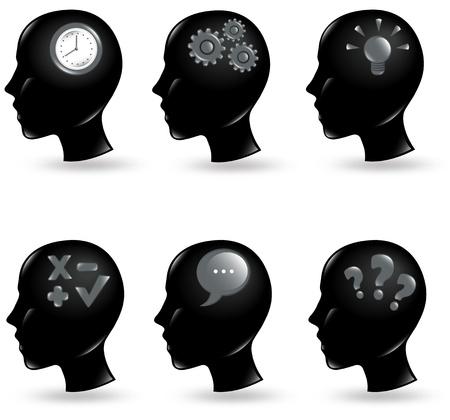 Coleção de cabeças humanas com coisas diferentes em suas mentes Ilustração