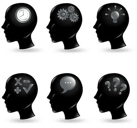 mind set: Collection of human heads with different things in their minds Illustration