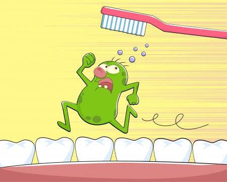 karies: Germ kör ifrån en tandborste Illustration