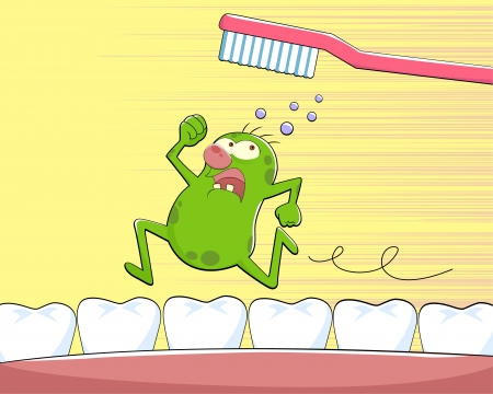 dental caries: Germ running away from a tooth brush Illustration