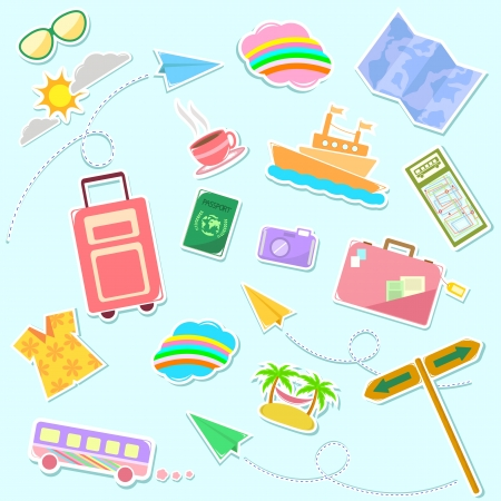 Collection of cute travel symbols Stock Vector - 16511323