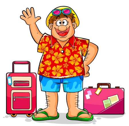 hombre caricatura: Turismo en ropa de verano listas para visitar destinos tropicales