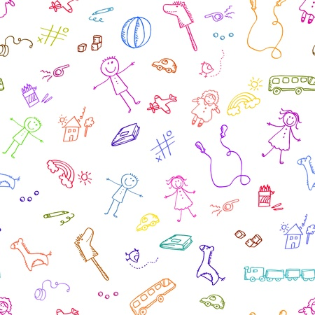 Seamless pattern with griffonnages de jouets