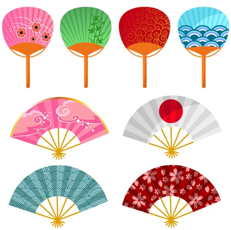 Set of decorated Japanese fans Vector