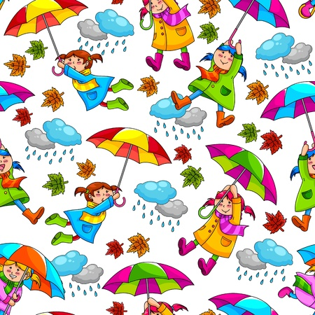 rain coat: less pattern with kids holding umbrellas