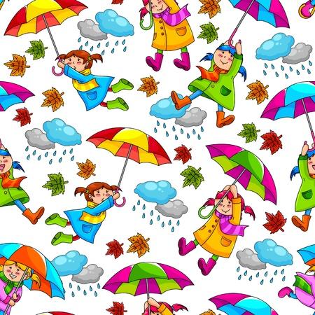botas de lluvia: patrón menos con los niños sosteniendo paraguas
