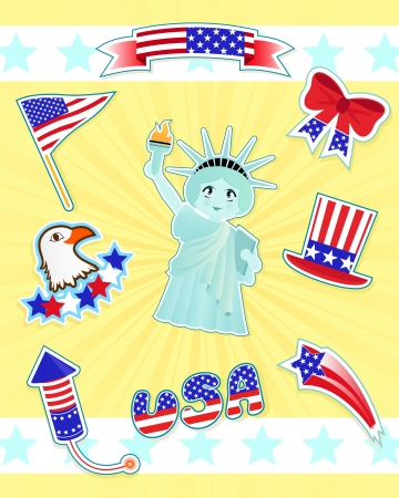 Collection of icons related to the USA and 4th of july