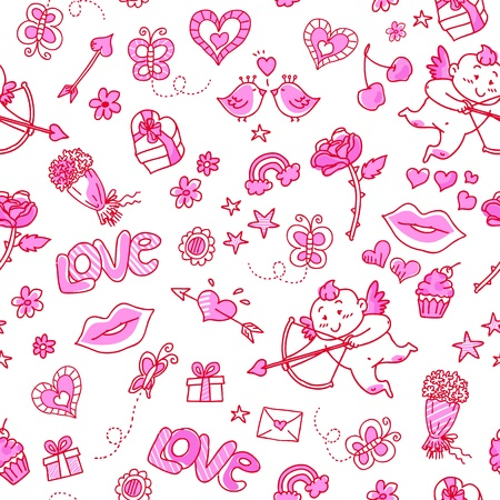 Seamless pattern with love doodles Vector