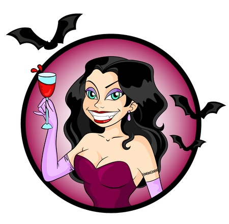 Attractive vampire woman holding a glass of red drink Vector
