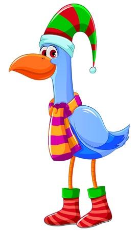 Cartoon bird dressed for christmas
