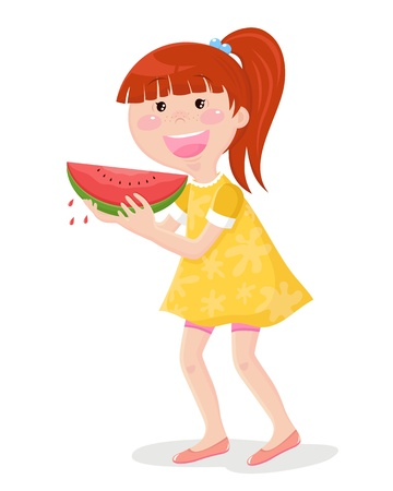 Girl in summer cloths eating watermelon Vector