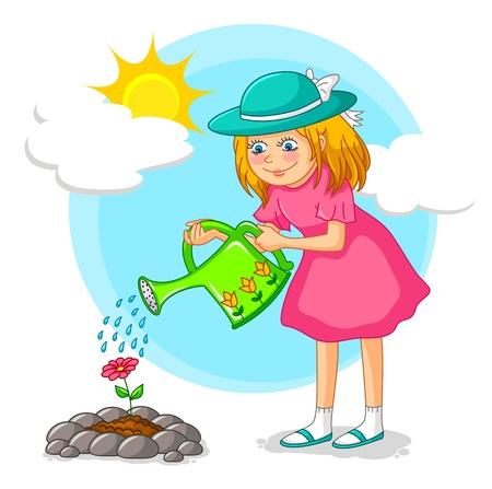 regar las plantas: Niña que riega una flor en el jardín