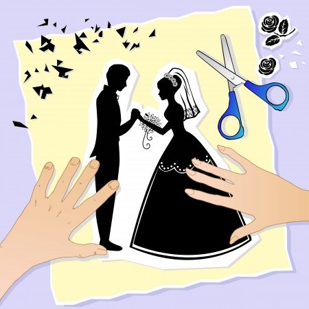 wedding couple silhouette: lovers  hands creating a wedding scene
