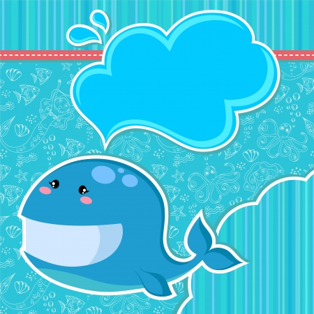 scrapbooking elements: Whale over seamless doodle pattern and other design elements  Illustration