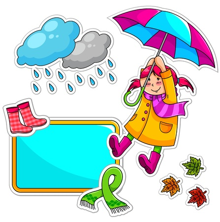rain boots: Set of cute things related to winter and autumn Illustration