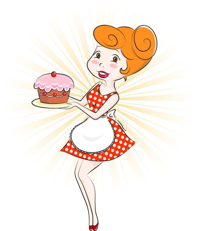 Retro style cartoon woman holding a cake Stock Vector - 16511076