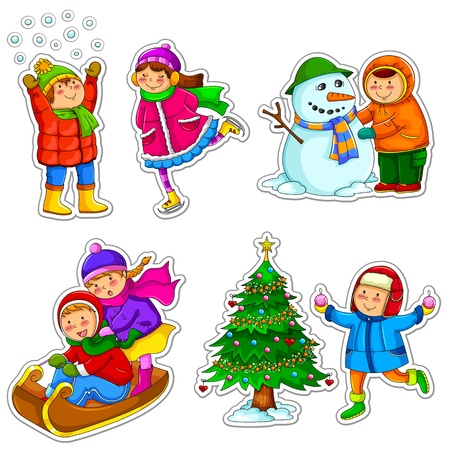 fille hiver: enfants en hiver Illustration