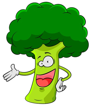 natural food: happy cartoon broccoli