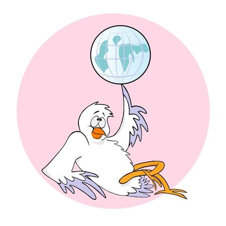 paloma caricatura: Cartoon pájaro girar un globo en el dedo
