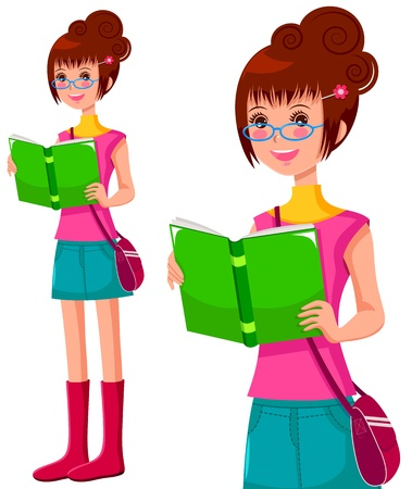 Girl with glasses reading a book Stock Vector - 16570634