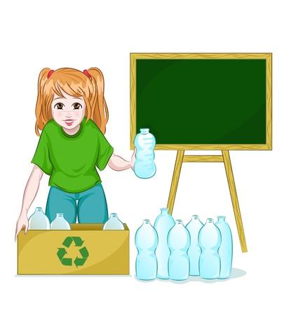 separacion de basura: botellas niña de reciclaje Vectores