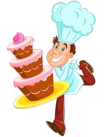 baking cake: happy baker with cake