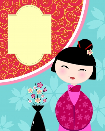 card with chinese girl Vector