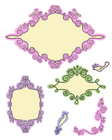 Set of cute frames and elements part 1 Vector