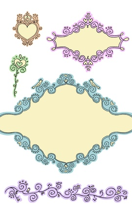Set of cute frames and elements part 2 Vector