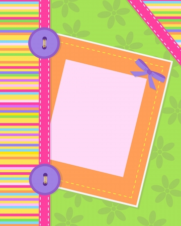 craft button: Colorful card designed like sewing craft