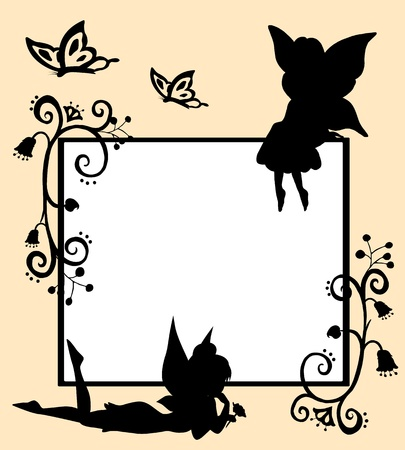 fairy silhouette: Frame with silhouettes of fairies, butterflies and flowers