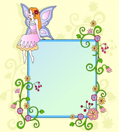 butterfly myth: Frame with a fairy and flowers