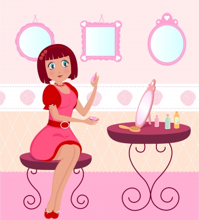 dressing table: girl putting on make up