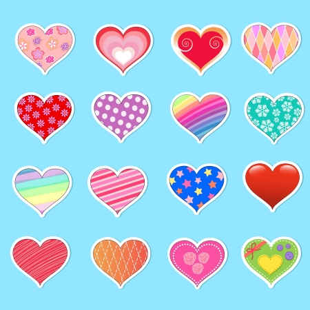Collection of different hearts Vector