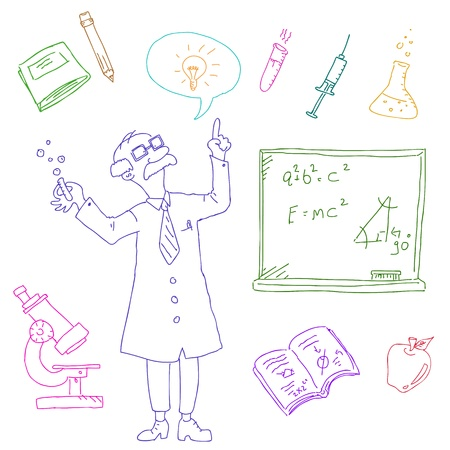 les of science and laboratory doodles Vector