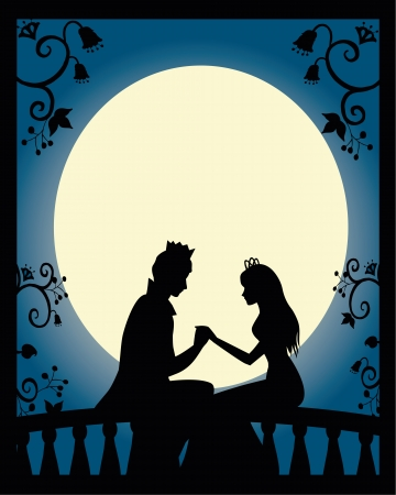 romeo and juliet: silhouette of lovers at night Illustration