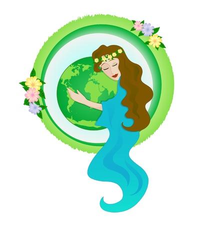 amor al planeta: mujer abrazando a la tierra