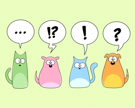 speech marks: cartoon cats and dogs Illustration