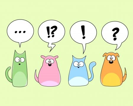signo de admiracion: gatos y perros de dibujos animados