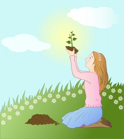 Girl planting a seedling Stock Vector - 16569640