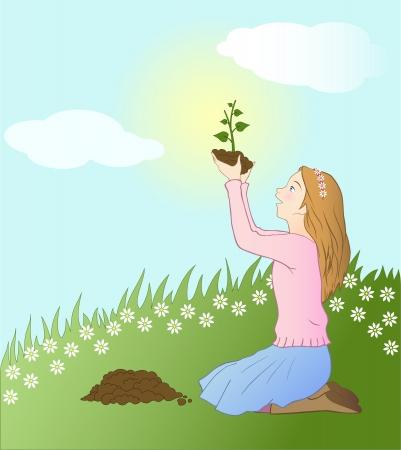 Girl planting a seedling