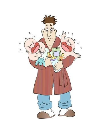 hombre pobre: Exhausto padre que sostiene dos bebés gritando Vectores