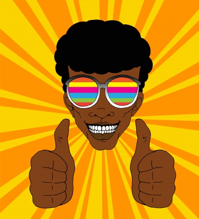 Happy man with colorful sunglasses lifting his thumbs