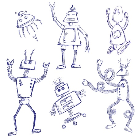 Doodles of different robots Vector