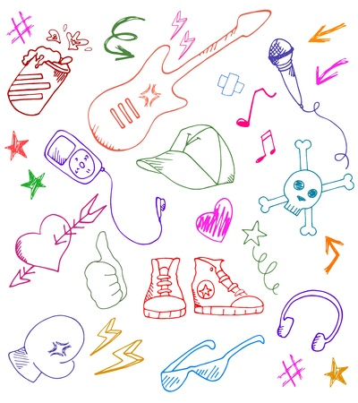 Collection of rock and music doodles Vector