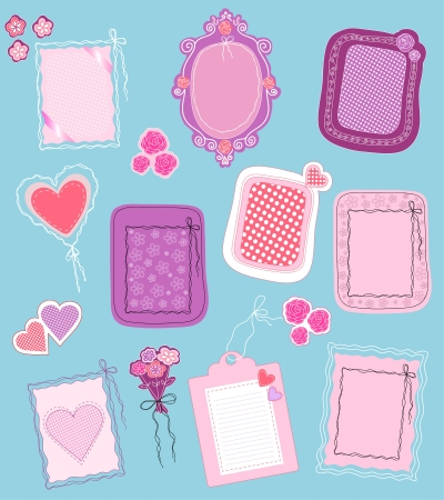 Collection of cute frames and design elements Vector