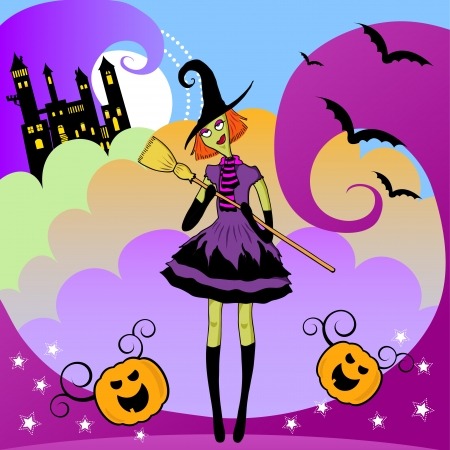 hunted: Cartoon witch with colorful magical background Illustration