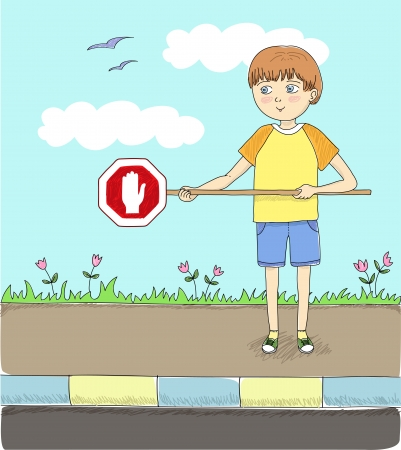 safely: boy holding a stop sign