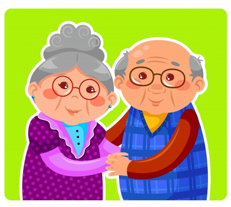 abuelos: pareja de ancianos abrazando y sonriendo Vectores